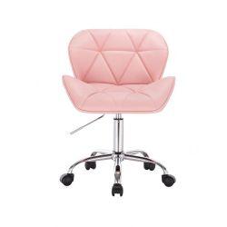 Kosmetická židle MILANO na podstavě s kolečky růžová